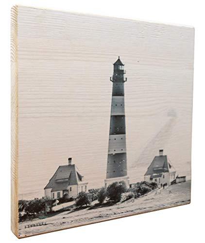 elbPLANKE - Leuchtturm Westerheversand | 20x20 cm | Holzbild von Fotoart-hamburg | 100% Handmade aus Holz (Kiefer/Fichte)