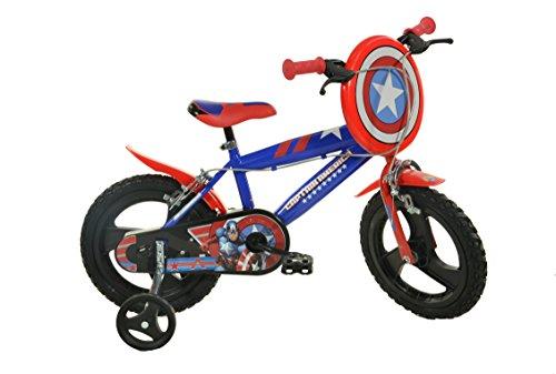 Dino Bikes Marvel Heroes Vélo Garçon sous Licence Captain America 14 Pouces-4 à 6 Ans, 414 UL-CA