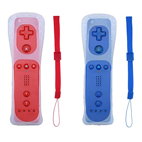 Poglen Wireless Gesture Controller Compatible for Wii Wii U Console (2 Packs, Red and Deep Blue)