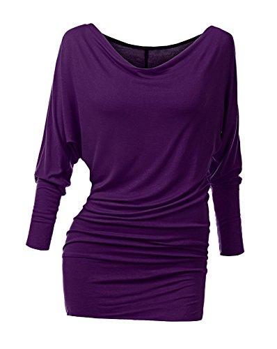 Suimiki Damen Langarmshirt Pullover Fledermaus Pulli Tunika Stretch, Violett, L
