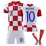 子供大人用 クロアチアサッカーチーム ユニフォーム 上下セット ホーム サッカー 背番号10 レプリカサッカーユニフォーム とソックス ユニセックス (Size : 22)