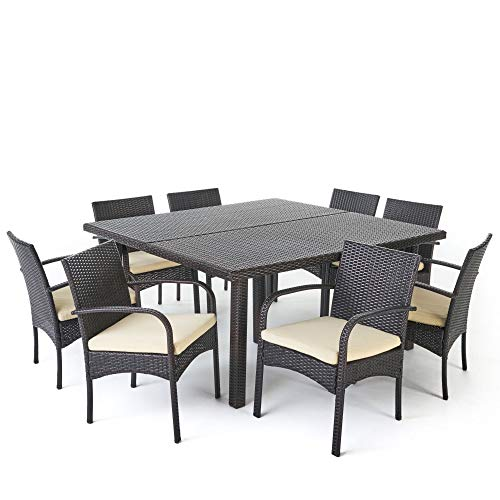 Contemporary Home Living 9-Piece Brown Wicker Outdoor Furniture Patio Dining Set - Cream White Cushions