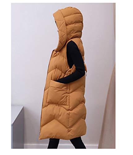 Daunenweste Für Damen,Die Weste Jacke Ultraleichte Warm Verdicken Große Medium Lange Kapuze, Reißverschluss-Taschen Farbe Lässige Mode Tragbar Für Damen Mädchen Winter Outdoor Klettern Wanderun