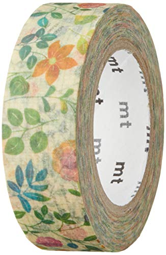 MT Washi tape, 15mm x 10m, water color Flower pattern (MTEX1P109)