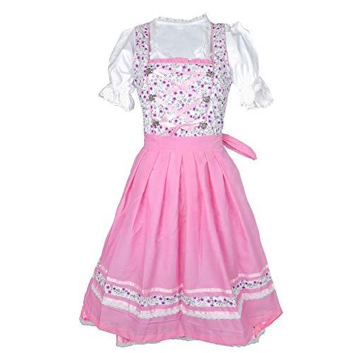 MS-Trachten Damen Dirndl Trachtenkleid Marie 3 teilig … (rosa, 46)