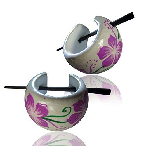 Chic-Net Hawaii Flor púrpura de madera Aros Pendientes Blanco Verde Pin Pin Pin Cuerno pintados a mano pendientes de aro de madera de 16 mm