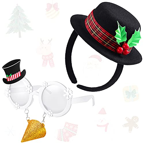 Mini Top Hat Headband Black Top Hat Headband Christmas Mistletoe Costume Headband with Plaid Band Holly and Berries and Christmas Glasses Frame for Holiday Craft