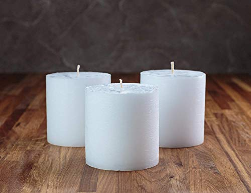 """Set of 3 White Pillar Candles 3"""" x 3"""" Unscented Rustic for Weddings, Home Decoration, Restaurant, Spa, Church - Smokeless and Dripless"""