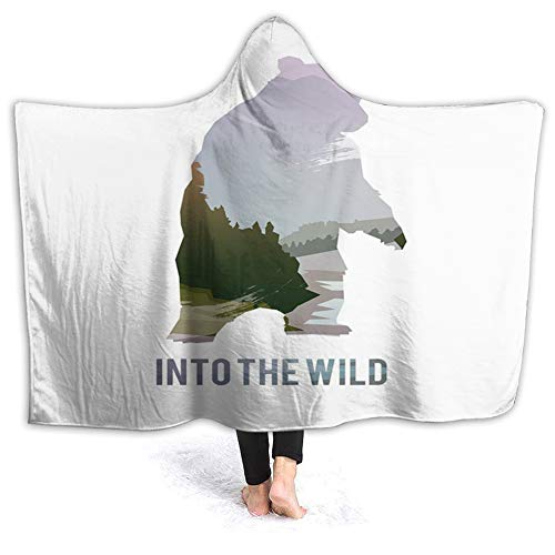 YOWAKi Ultra-Soft Micro Fleece Soft and Warm Throw Hooded Blanket,Cabin,Wild Animals of Canada Survival in The Wild Theme Hunting Camping Trip Hobby Outdoors,50