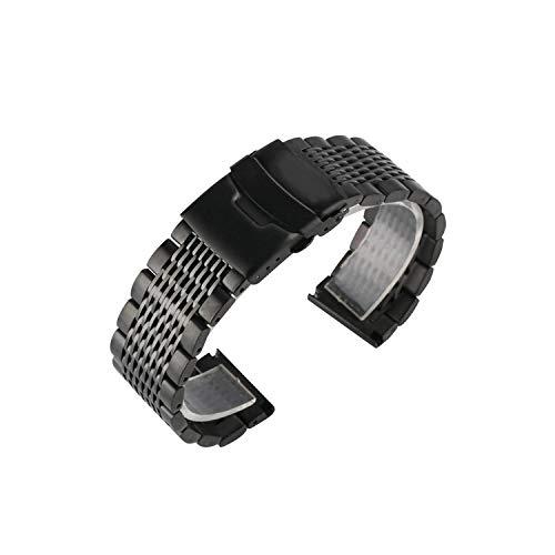 Soild horlogeband van roestvrij staal, 22 mm, zwart/zilver, voor mannen, horlogeband van metaal, vervangend horlogeband