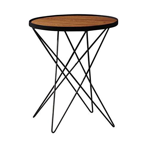 Jcnfa-Tables Table Basse en Bois Massif, Table latérale Ronde, Petite Table Ronde, Pieds de Support en Acier au Carbone, 2 Tailles (Color : Black, Size : 19.68 * 19.68 * 17.71in)