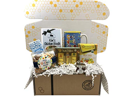 Get Well Soon Gift Basket with Soup, Mug, Snacks, Lotion & More in Bee Well Unique Gift Box