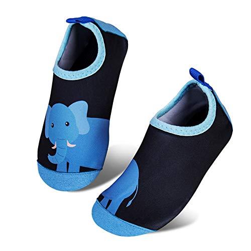 IceUnicorn Badeschuhe Kinder Schwimmschuhe Jungen Mädchen Strandschuhe Baby Aquaschuhe Barfußschuhe Kleinkind Wasserschuhe(Großer Elefant, 24/25 EU)
