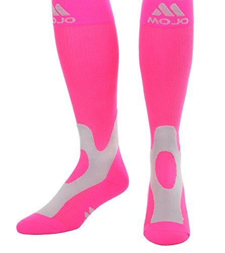 Mojo Coolmax Recovery & Performance Sports Compression Socks (Large, Hot Pink) Unisex by Mojo Compression socks