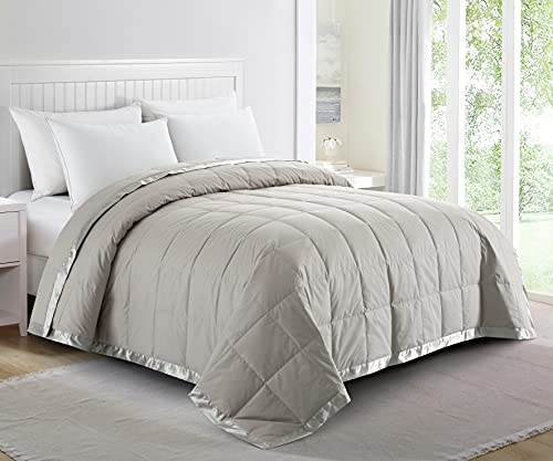 puredown Lightweight Natural White Down Blanket for Bedding Satin Weave 100% Cotton Grey, Full/Queen Size