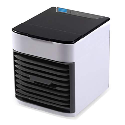 Acondicionador de aire portátil, refrigerador de aire, humidificador, purificador, 3-en-1 Mini acondicionador de aire portátil, USB Ártico refrigerador de aire con LED y 3 velocidades for el dormitori