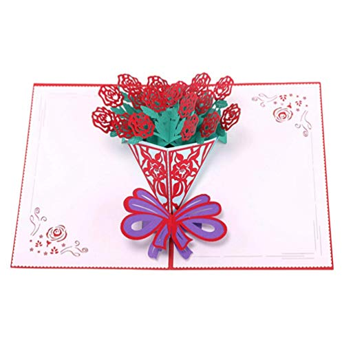ZhenHe 1 PC-Blumen-Pop-Up-Karte Handgemachte Liebe Rosen-Form-Einladungs-Karte Blumen-Karte Papierkarte for Hochzeit Valentinstag Geburtstag Dekorationen