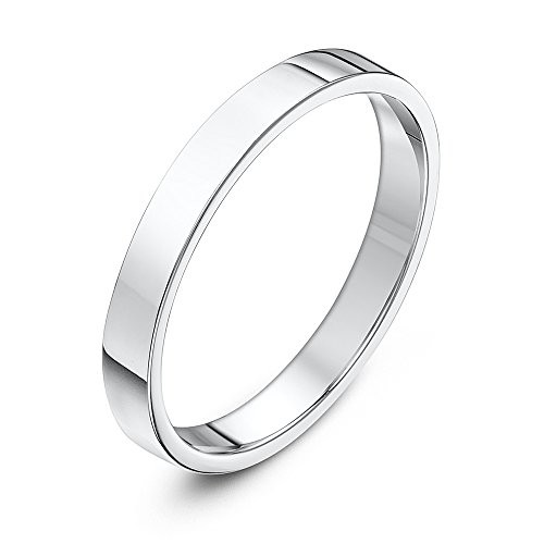 Theia Sterling Silver Super Heavy Flat Court Shape Polished 3mm Wedding Ring - Size J