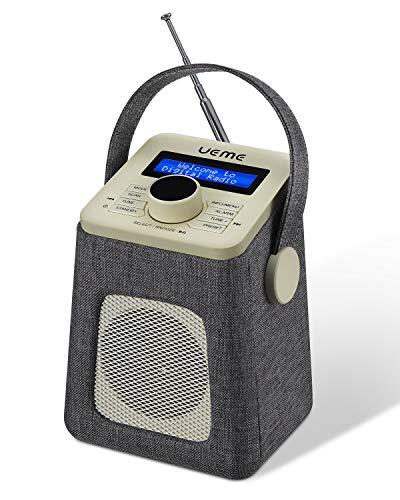 UEME Mini DAB+ DAB Digitalradio und UKW Radio mit Bluetooth Lautsprecher, Radiowecker, und Stoff Verkleiden (Grau)