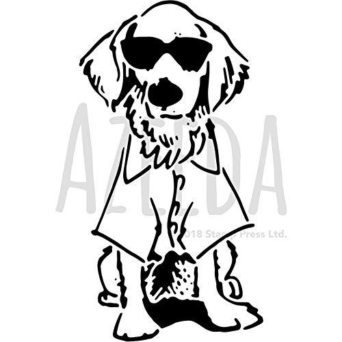 A4 'Hund mit Sonnenbrille' Wandschablone / Vorlage (WS00035251)