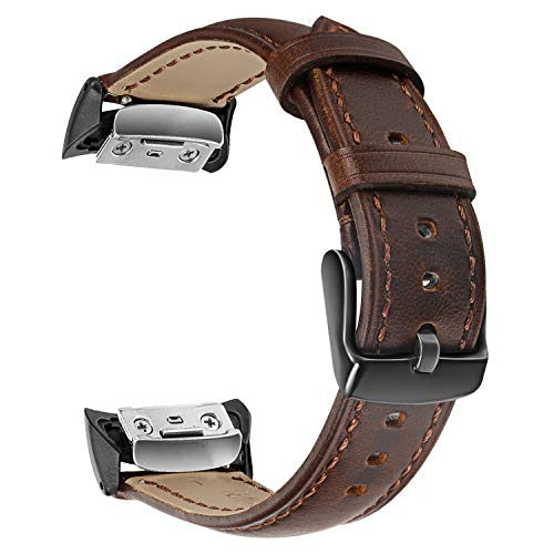 Gear Fit2 / Fit2 Pro Watchband, TRUMiRR Genuine Leather Band Sports Strap Wrist Bracelet for Samsung Gear Fit 2 SM-R360 / Fit 2 Pro SM-R365 Smart Watch, Dark Brown
