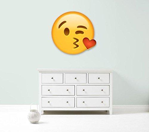 Kapowboom Graphics Emoji Emoticonos Beso corazón Gigante Coche de Pared Vinilo Adhesivo 3tamaños Dormitorio, Vinilo, Large - 110cm Wide