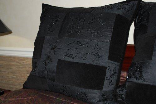 Ralph Lauren New Bohemian Black Beaded Quilt Euro Sham