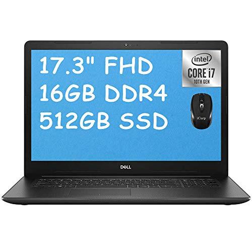 """2020 Latest Dell Inspiron 17 3000 3793 Business Laptop, 17.3"""" FHD Anti-Glare, 10th Gen Intel Quad-Core i7-1065G7, 16GB DDR4 512GB SSD, Intel Iris Plus Graphics WiFi HDMI Win 10 + iCarp Wireless Mouse"""