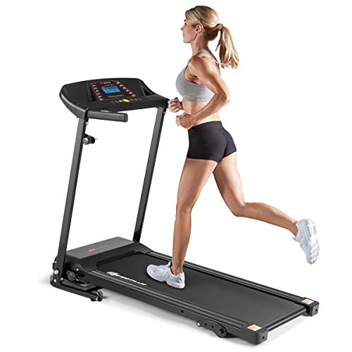 Goplus Electric Folding Treadmill, Adjustable Incline and Low Noise Design, with LCD Display and Heart Rate Sensor, Compact Running Machine for Home Use (Low Noise Design) Treadmills