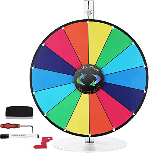"""Voilamart 24"""" Tabletop Spinning Prize Wheel, Spin The Wheel Dry Erase, 14 Slots with Durable Base, 2 Pointer, Wheel of Fortune Spin Game in Party Pub Trade Show Carnival"""
