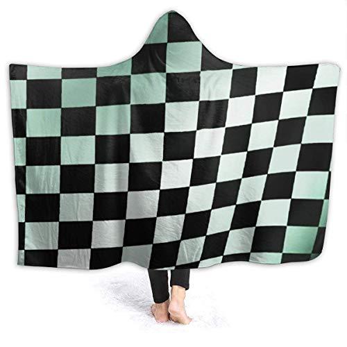 GOSMAO Manta de Franela Tela de Cepillo Extra Suave Súper cálida Mantas para sofás acogedora y Ligera Verde a Cuadros Blanco y Negro 50'x40',W127cm X L102cm