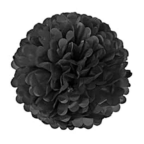 6/8/10/12 inch Tissue Paper Pompom Garland Rustic Wedding Decor Weeding Birthday Party Supplies Baby Shower Girl Favors - Black,6 inch