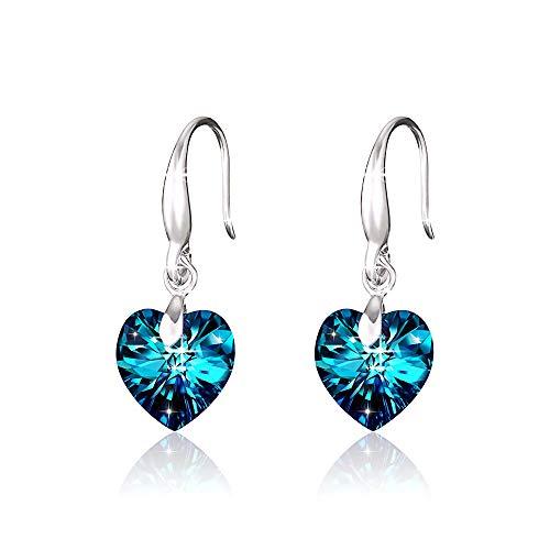 Pendientes Colgantes Corazón Cristal Azul Mujeres