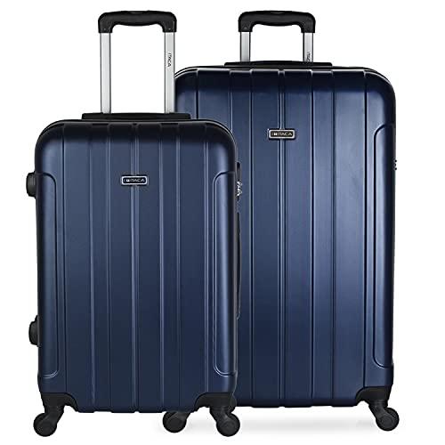 ITACA - Set di due valigie rigide 4 ruote Trolley 64/73 cm ABS. Maniglie per lucchetto. Medio e grande. 771116, Color Marino