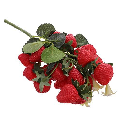 Cabilock Cadena de Fresas Artificiales Rojo Rico Fresa Falsa Imitación de Acebo Bayas Decorativas Frutas Realistas Decoración Colgante Pinchos Adorno