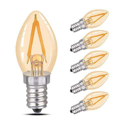 Bombilla LED C7, lámpara de sal, luz nocturna LED de 2 W, luz ámbar brillante 10 W, base de candelabro E14, luz blanca cálida 2700 K, no regulable, paquete de 6