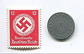 Rare Nazi Swastika 1 Reichspfennig German Coin World War 2 WW2 with Scarce  Swastika Stamp(Random Color and Value) MNH
