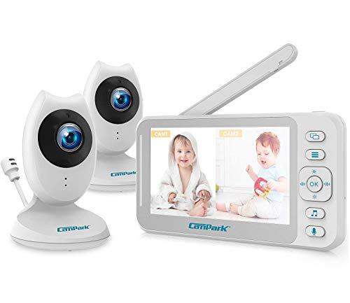 Campark Babyphone mit 2 Kameras, Smart Baby Monitor 4,3 Zoll LCD Bildschirm Wireless, Gegensprechfunktion, Temperatursensor und akustischer Alarm, Nachtsicht, VOX, 8 Schlaflieder