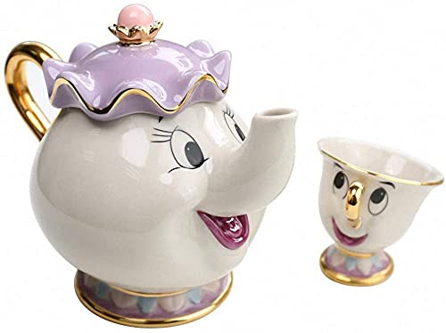 Nuevos adornos creativos para teteras y tazas, tetera y taza de La Bella y la Bestia, tetera y taza de decoración, juego de tetera y taza de dibujos animados (1 tetera + 1 taza)