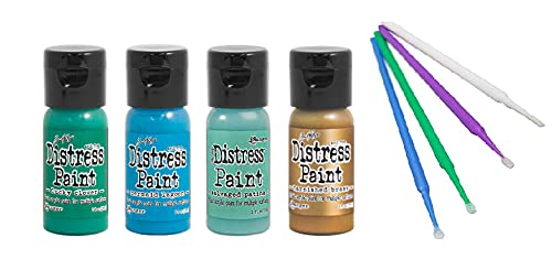 Ranger Tim Holtz Distress Flip-Cap Paint Bundle with PTP Flash Deals Sticks (Patina - Tarnished Brass, Lucky Clover, Salvaged Patina, Mermaid Lagoon)