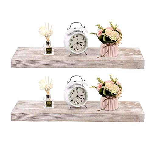 Floating Shelves Wall Mounted Set of 3, NEARPOW Extra Wide Pine Wood Wall Shelves with Removable S Hooks and Towel Holder, Rustic Floating Storage Shelf for Bedroom, Living Room, Bathroom and Kitchen
