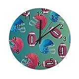 Horloge murale silencieuse en forme de ballon de rugby - Style sportif - En bois - Pour salon, chambre à coucher - 30,5 cm