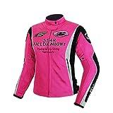 QQA Chaqueta Moto Mujer con Protecciones Reflexivo Ventilación Multifuncional Textil Impermeable con Protecciones Ligero Basic,Rosado,XL