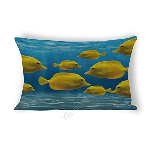 Funda de cojín rectangular de 30,5 x 60,9 cm, para cama, sofá, coche, decoración del hogar, peces amarillos