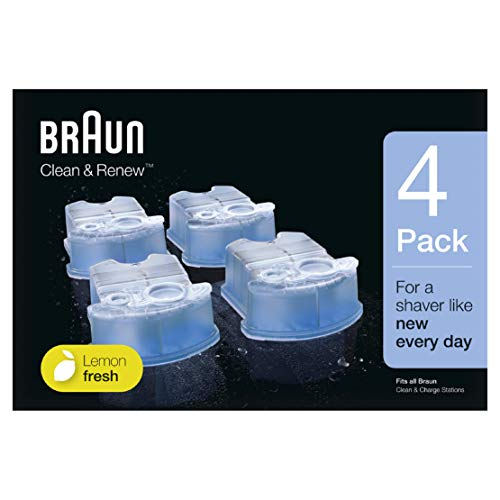 Braun Clean and Renew 4 Pack, Cartridge, Refill, Replacement Cleaner, Cleaning Solution