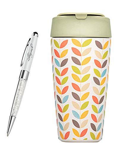 chicmic bioloco Plant Deluxe Cup Trink-Becher to Go | Kaffee-Becher für unterwegs | verschließbar mit Deckel | inkl. Lieblingsmensch Kugelschreiber, Größe:Deluxe Cup, Farbe:Bright Leaves
