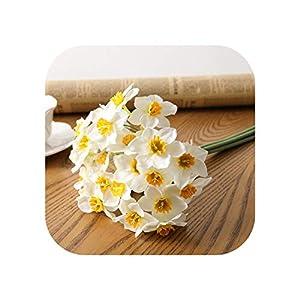Joyfeel-light 6pcs/Lot Home Room Artificial Simulation Narcissus Flower Living Room Window Decor Fake Flowers Wedding Scene Decor Daffodil
