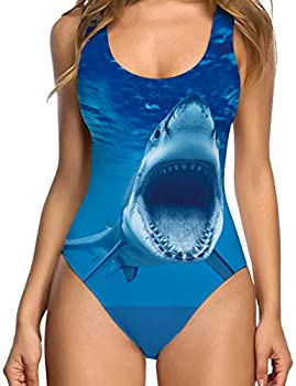 TUONROAD Girls Womens Laides Vintage One Piece Tummy Control Support Swimsuit Turquoise Shark Whale Novelty Retro Thong Strap Bodysuit for Famale V Neck Low Back High Cut Swimwear Monokini