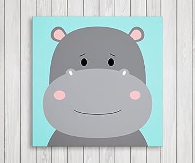 "Cute Little Animals, Nursery Canvas Print Wall Decor, Baby Kid Room Canvas Art Print, Safari Animals Poster Wall Art Print, Great Baby Shower Gift Set Idea - Ready to Hang (11""W x 11""H, Hippo)"