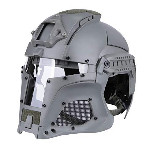 CARACHOME Fullface Helm, Mittelalterlicher Iron Knight Tactical Helm, Star Wars Helm Für Männer und Frauen. Passend für für Scooter Bike Motorrad Motocross Cruiser CS Game,Gray